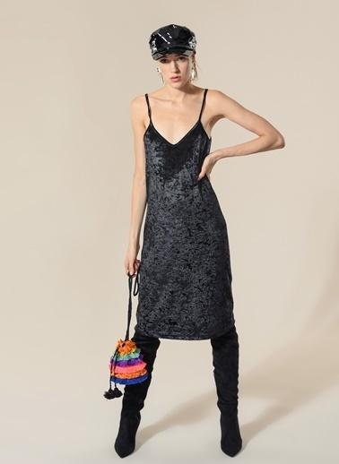 Agenda Kadife Elbise Siyah